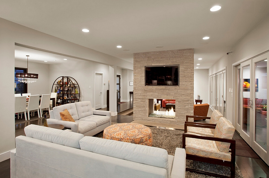 Fireplace serves both the living room and family area