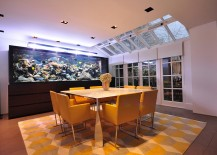Fishtank gives the dining room a truly spectacular backdrop