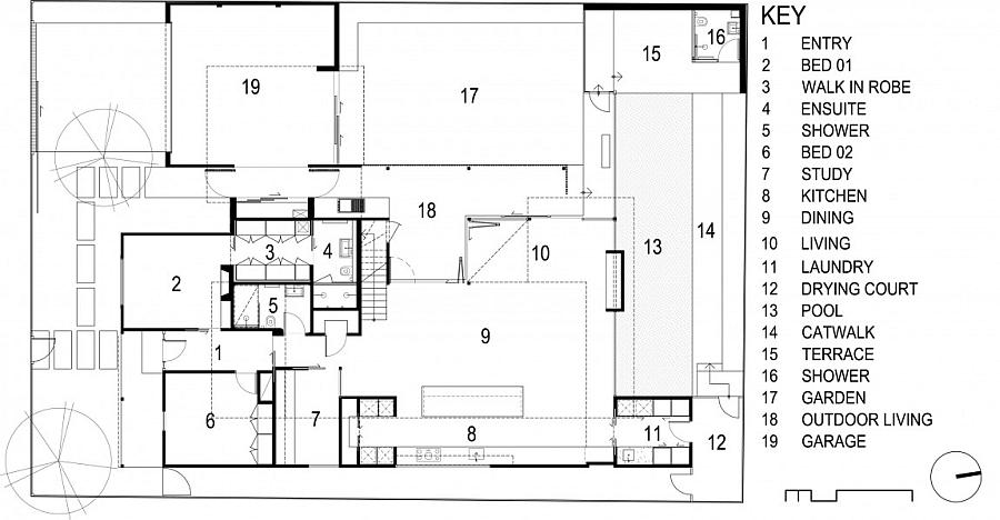 Floor plan of the revamped cottage residence in Geelong, Australia