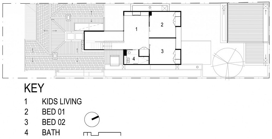 Floor plan of the top level of the remodeled Aussie home