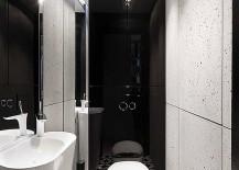 Geometric-floor-tiles-for-small-black-and-white-bathroom-217x155