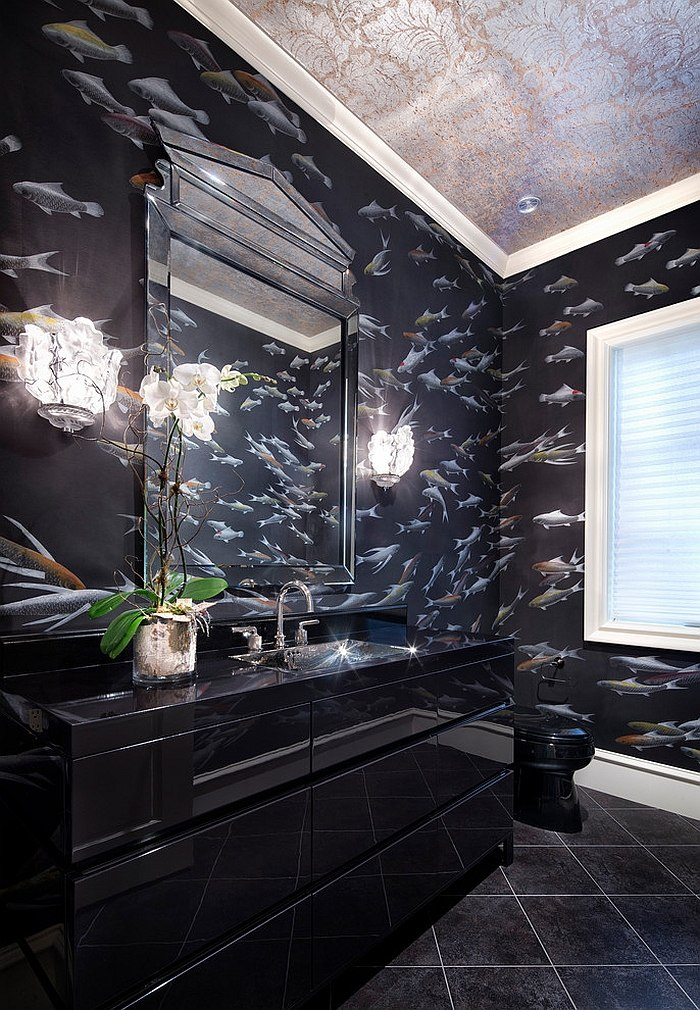 Give the black bathroom a fun new twist with wallpaper! [Design: Jauregui Architecture]