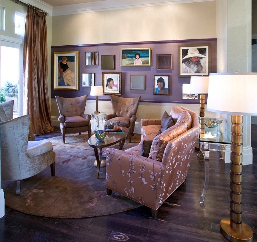 Give your art display a stunning, fashionable lilac backdrop [Design: Peg Berens Interior Design]