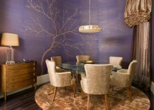 Glamorous dining room with hand painted wallpaper and golden accents 217x155 How to Fashion a Sumptuous Dining Room Using Majestic Purple