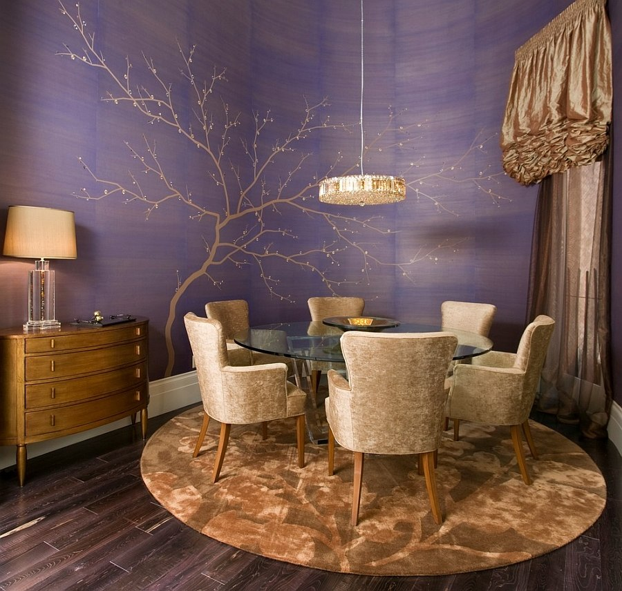 Glamorous dining room with hand-painted wallpaper and golden accents [Design: Peg Berens Interior Design]
