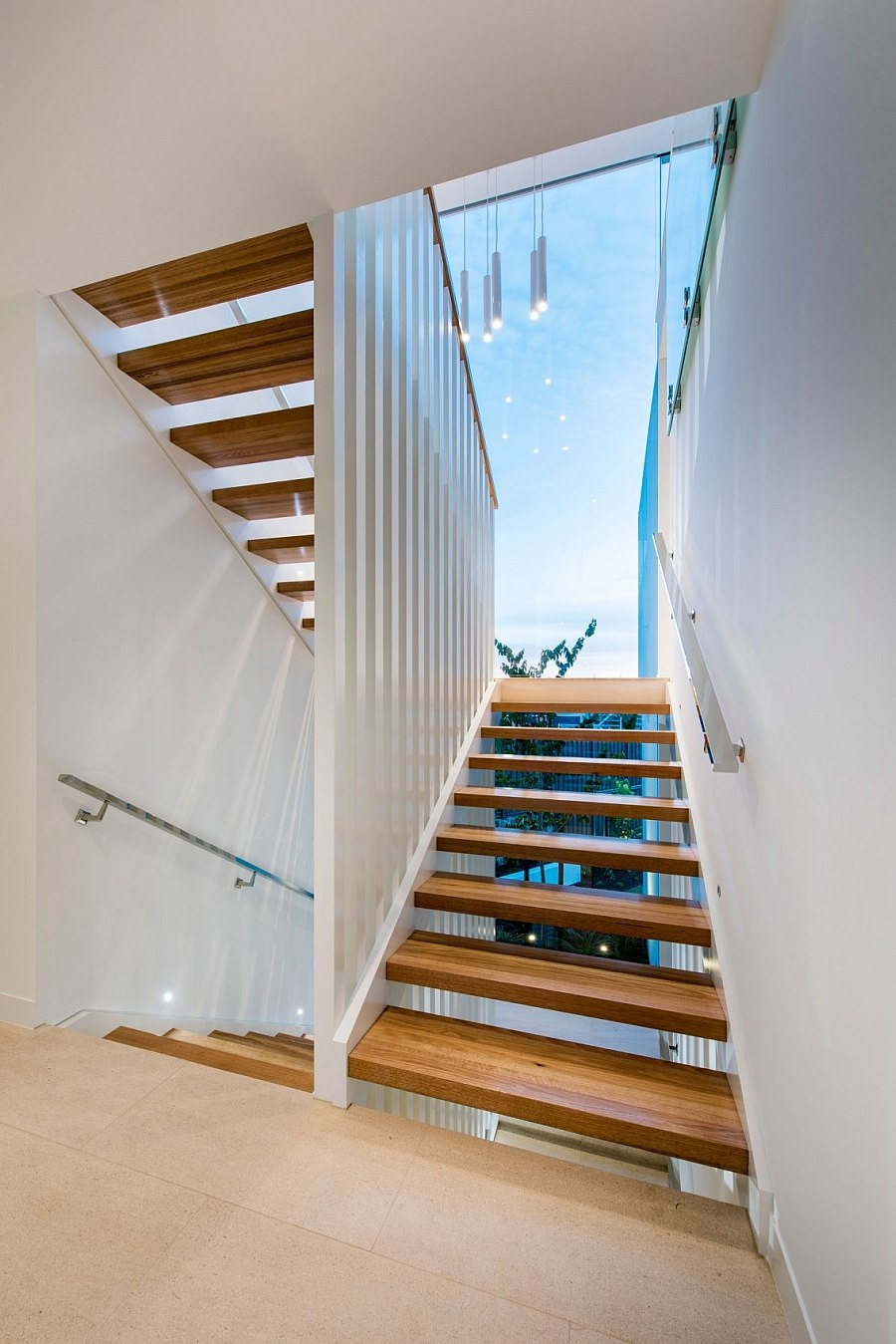 Glass roof above the staircase allows in natural light