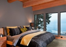 Gorgeous bedroom in gray with stunning view of the Pacific