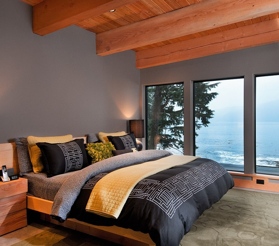 Gorgeous bedroom in gray with stunning view of the Pacific [From: Leanna Rathkelly Photography]