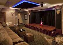Gorgeous home theater includes a stunning stage 217x155 11 Dazzling Home Stages That Steal the Spotlight