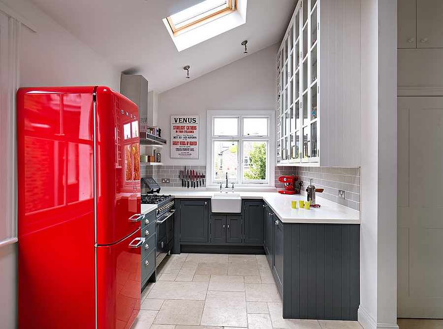 Gorgeous kitchen with gray shelves and a bright pop of red