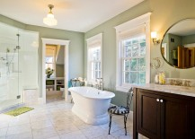 Gorgeous master suite in a pleasant green hue