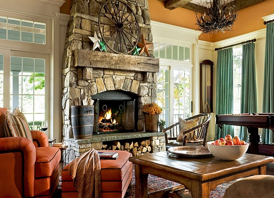 Gorgeous stone fireplace with storage space for logs underneath [Design: Crisp Architects]