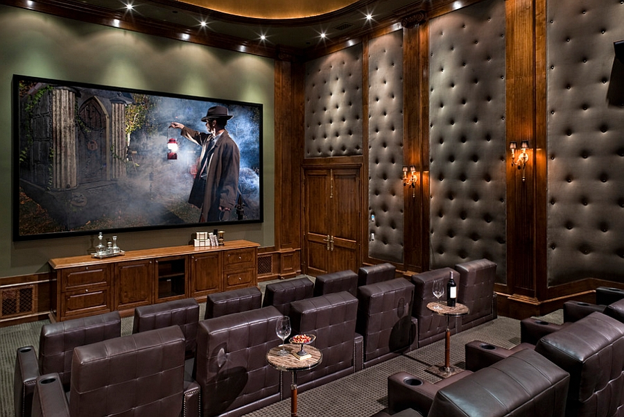 Gorgeous tufted wall panels improve the acoustics of home theater [Design: Jennifer Bevan Interiors]