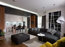 Gorgeous use of creative bookcase in the living room 217x155 Posh Penthouse in Kiev Dazzles with Exquisite Use of Gray!