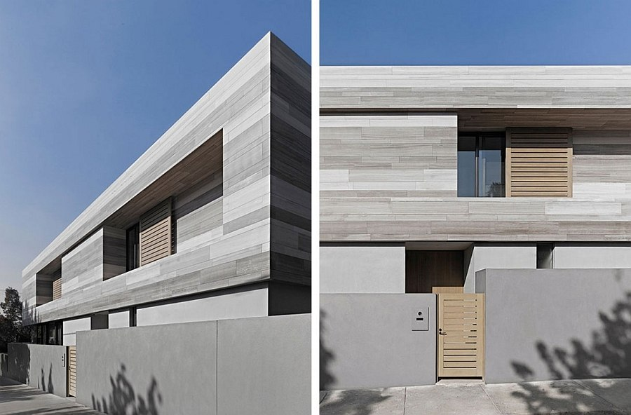 Gray brings sleek elegance to the street facade that offers ample privacy