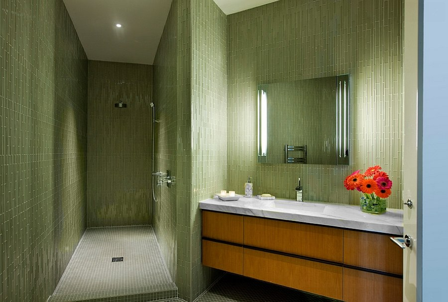 Hollywood Regency style bathroom with exquisite use of green tile [Design: Maienza - Wilson Interior Design + Architecture]