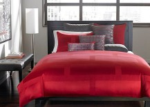 Hotel Collection bedding in red adds drama to the gorgeous bedroom 217x155 Polished Passion: 19 Dashing Bedrooms in Red and Gray!