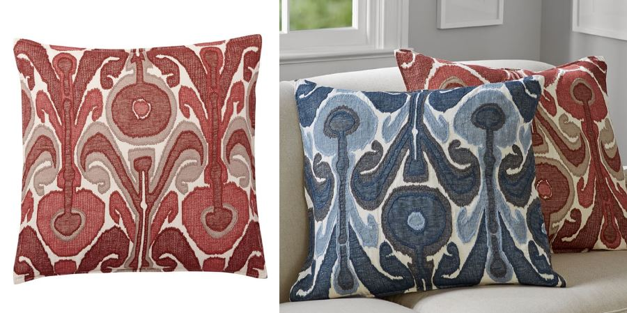 Ikat pillow in chutney from Pottery Barn