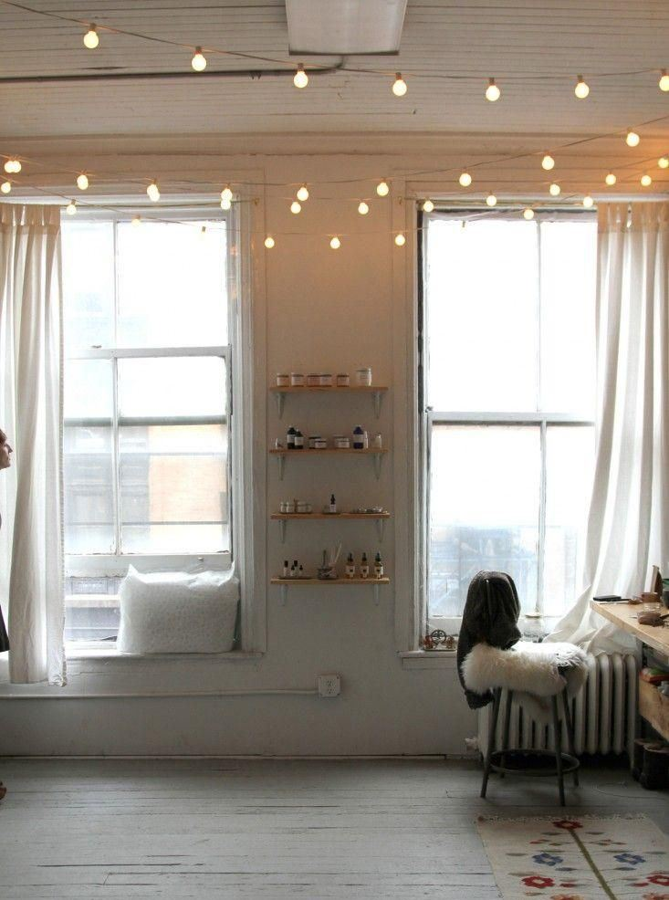 Indoor string lights add a warm touch
