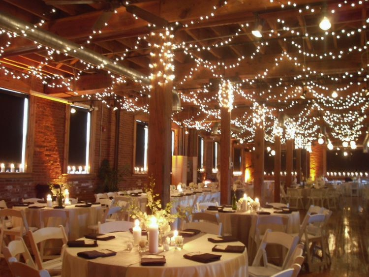 Indoor wedding with string lights