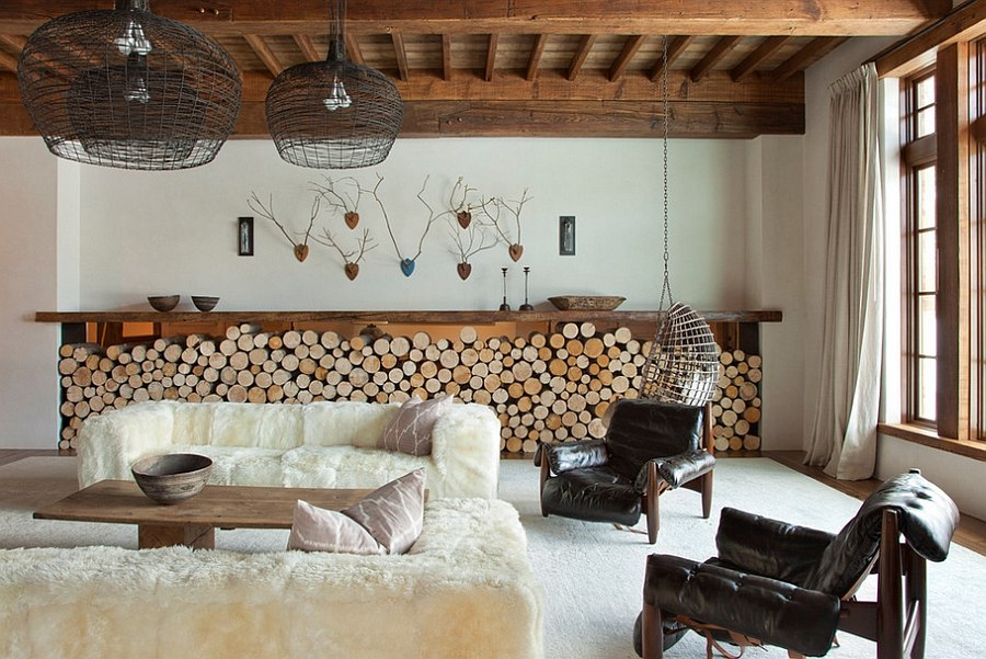 Ingenious firewood storage complements the low-slung style of the room [Design: On Site Management]