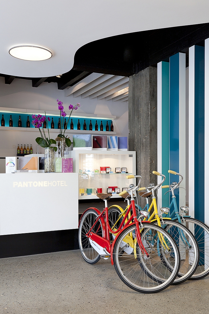 Inimitable entrance of the hotel with painted bicycles