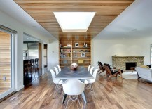 Innovative ceiling design steals the show in this dining room