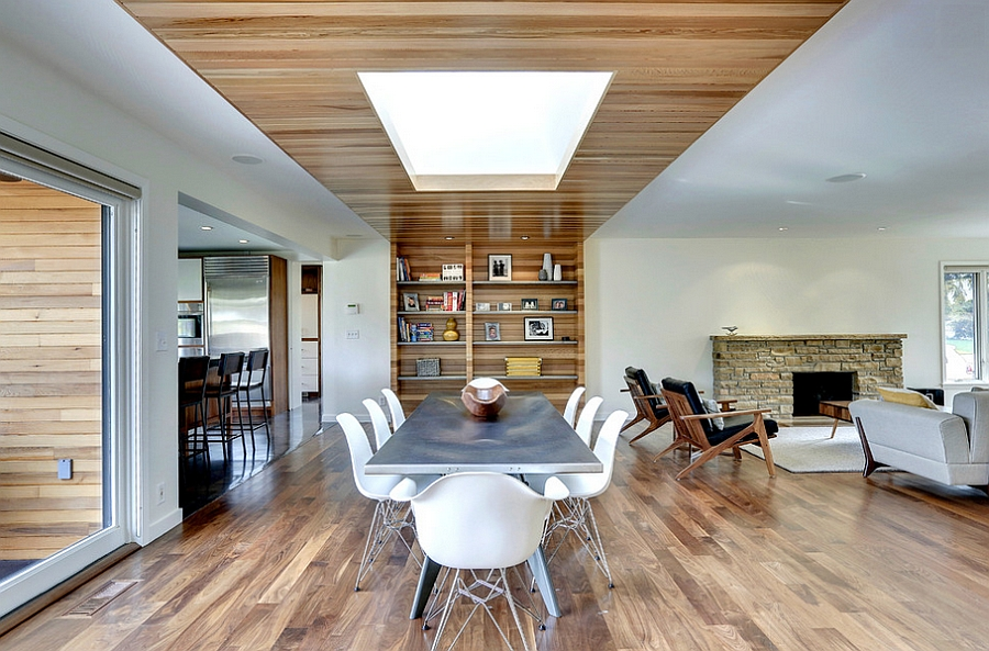 27 dining rooms with skylights that steal the show for Dining room ceiling designs