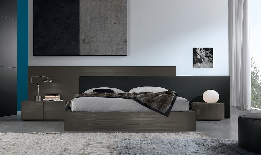 Interesting use of contrasting nightstands with common finish in the bedroom