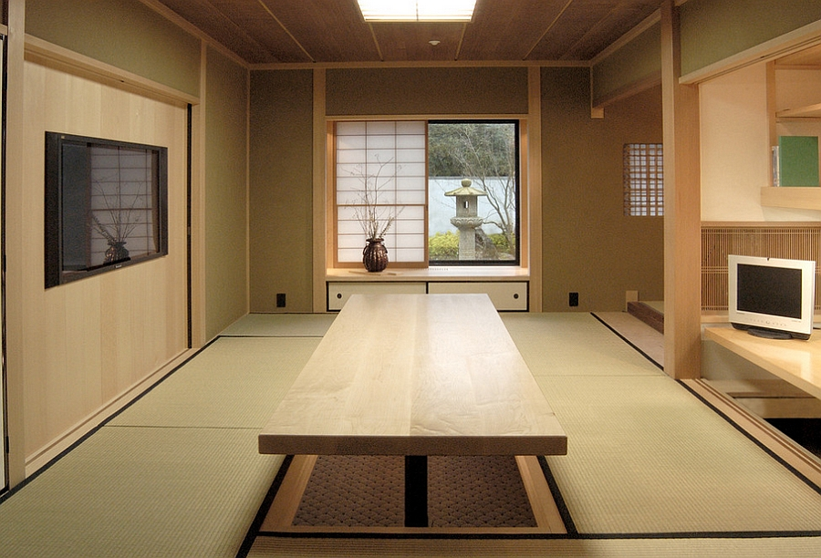 Japanese Style Home Office With A Hydraulically Controlled Desk