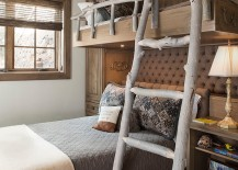 Ladder and railing on the bunk bed give the bedroom a cool touch