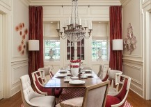 Lovely use of drapes and rug to usher in some red