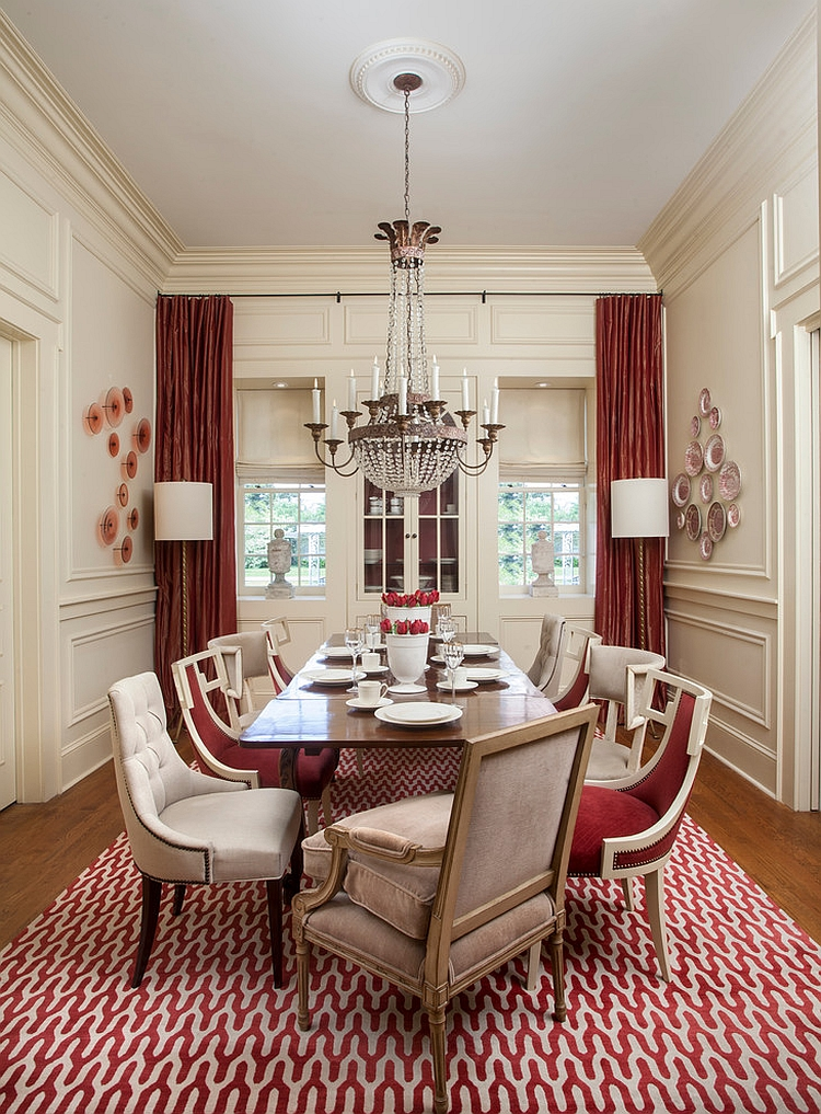 Lovely use of drapes and rug to usher in some red [Design: TY Larkins Interiors]