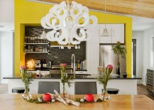 Lovely use of yellow to define and accentuate the kitchen