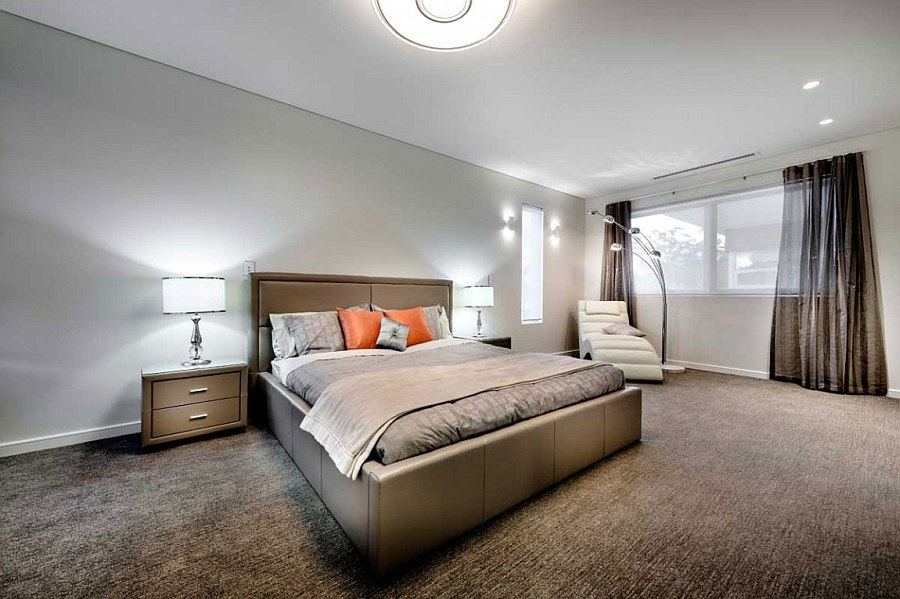 View In Gallery Luxurious Bedroom In Neutral Hues With A Pop Of Orange