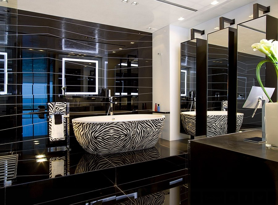 Modern Black House Bright Accents Luxurious Master Bathroom With A Bathtub In Zebra Stripes Design