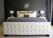 Luxurious master bedroom in gray with yellow accents