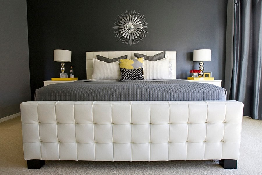... Luxurious Master Bedroom In Gray With Yellow Accents [Design: Michelle  Hinckley]