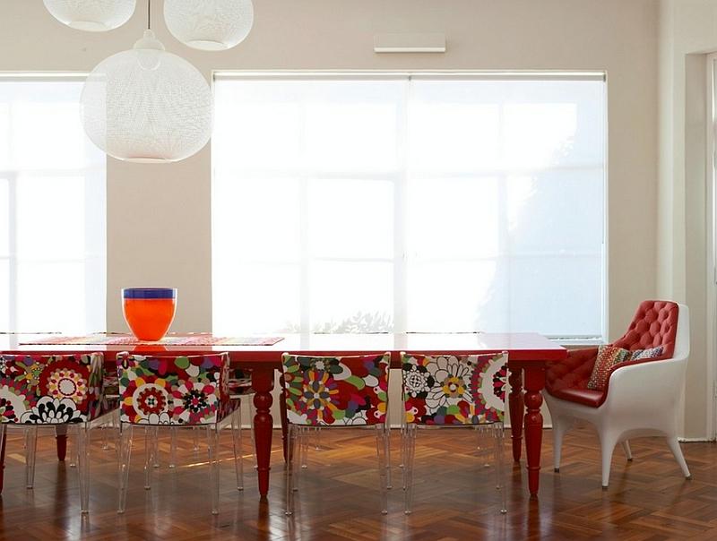 Mademoiselle Chairs and Non Random Lights shape the creative dining room [Design: Scott Weston Architecture Design]