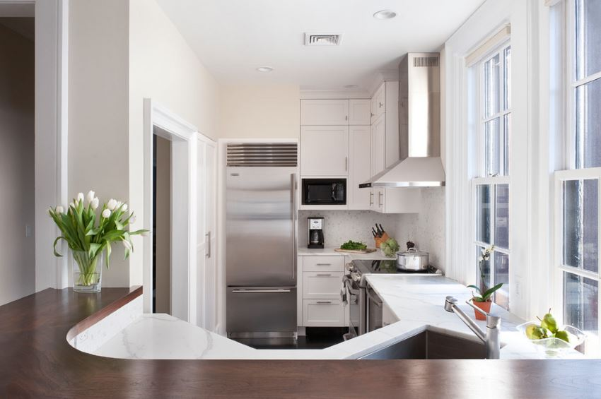 Marble countertops in a clean-lined kitchen