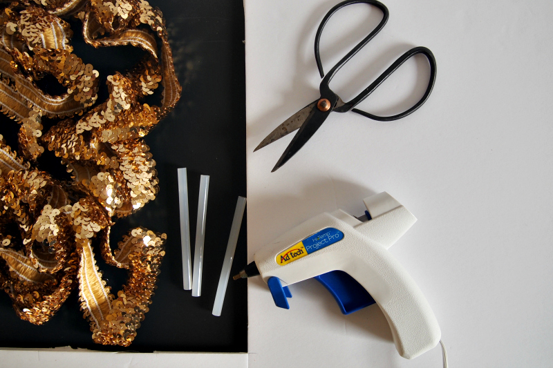 Materials for DIY sequin letters Bring a Little Love & Sparkle Home with Sequins!