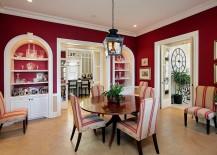 Mediterranean style dining room in ravishing red