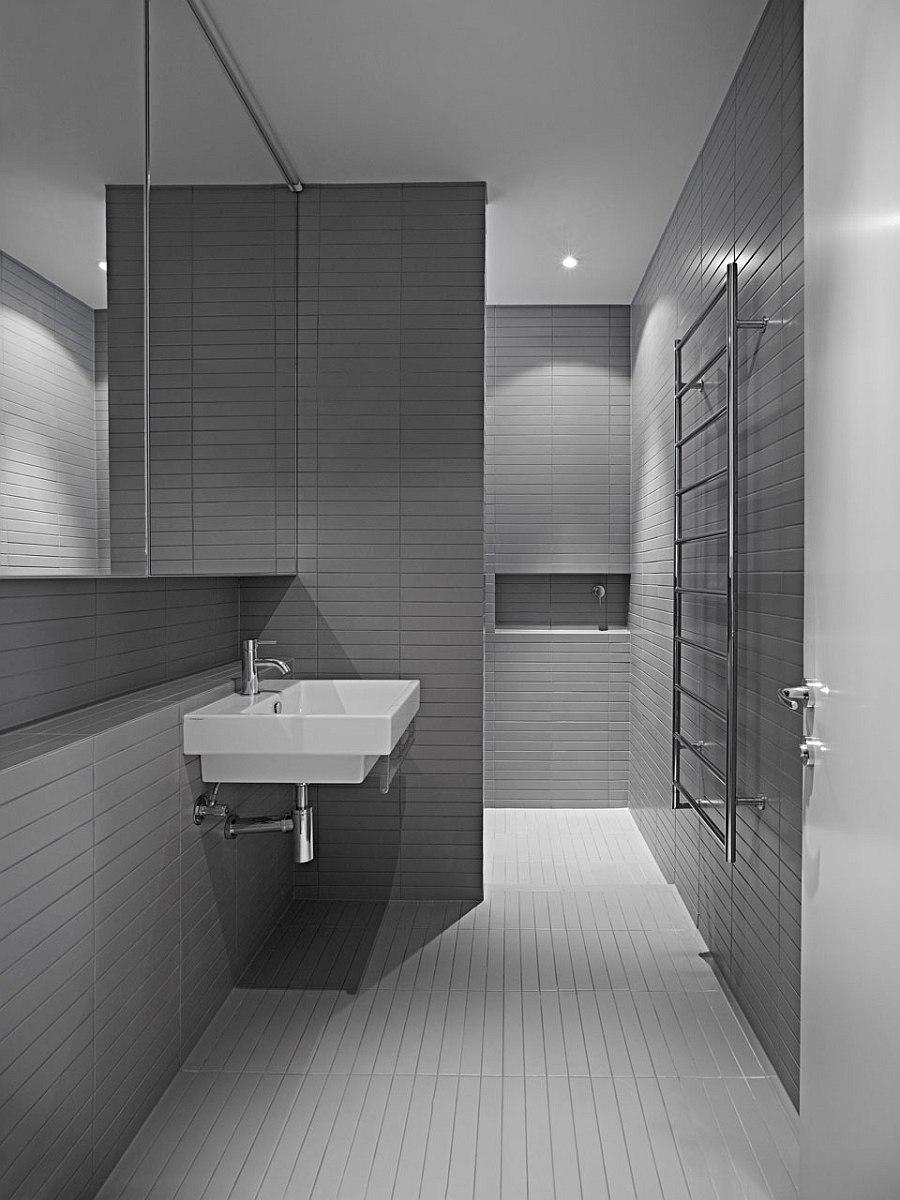 Minimalist bathroom with elegant use of gray