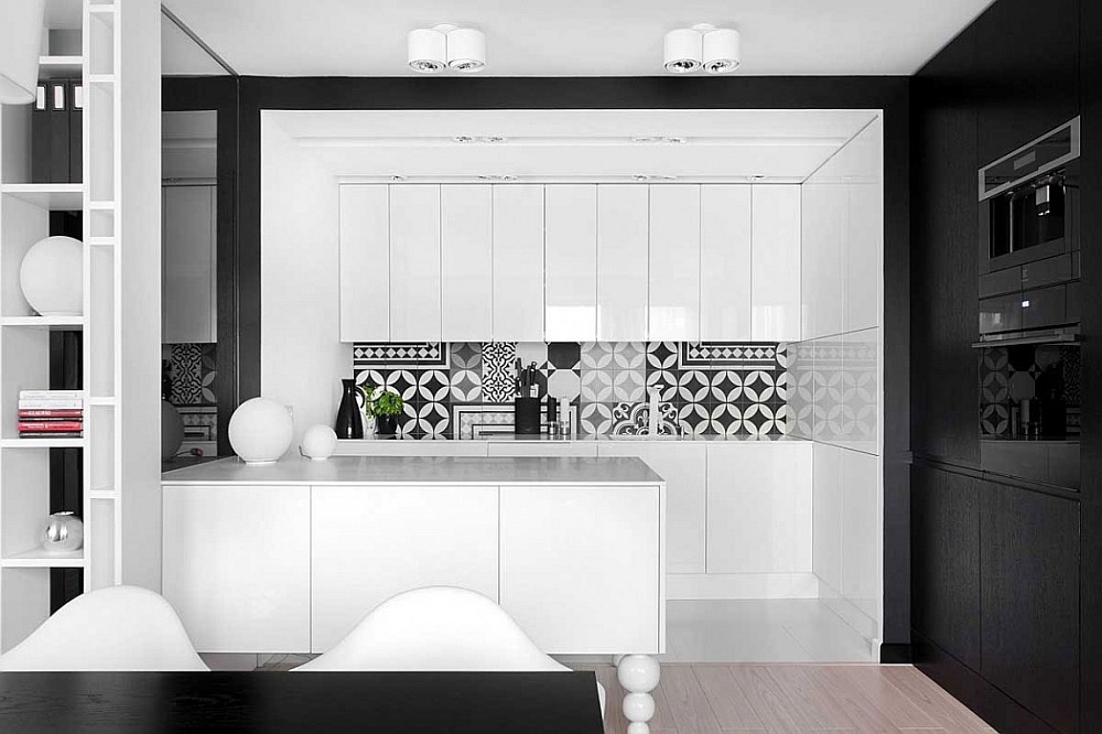 Minimalist modern kitchen in white with a monochromatic color palette