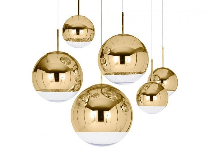 Mirror Ball Gold Pendant Lighting from Tom Dixon