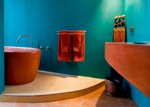 Modern Mexican style bathroom in cool turquoise and orange