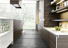 Modern kitchen open shelves idea with smart lighting