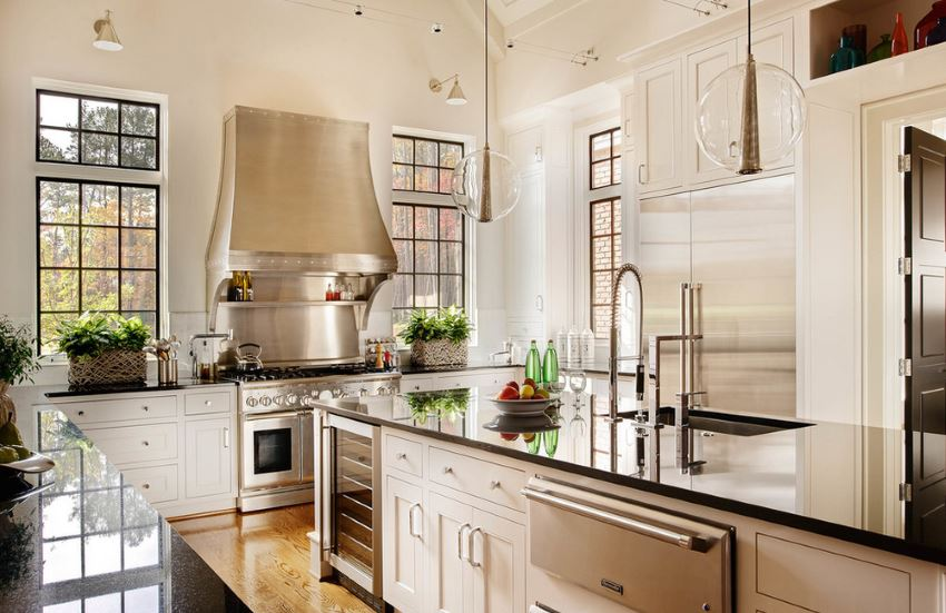 Modern pendant lighting in an open kitchen