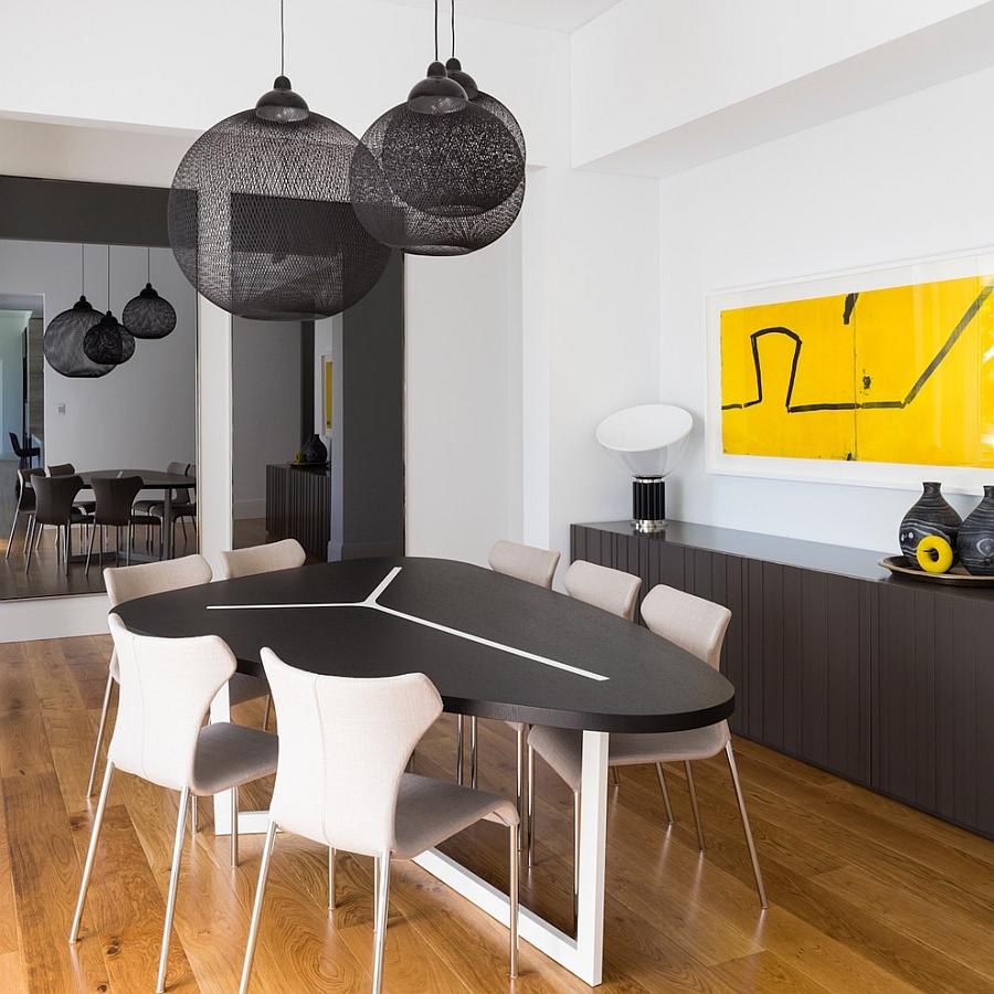 Moooi Non Random Lights in black bring drama to the dining room [Design: D'Cruz Design Group Sydney Interior Designers]