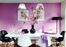 Natural light gives the purple dining room a soothing appeal